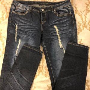 Rue21 Dark Wash Distressed Skinny Jeans 13/14